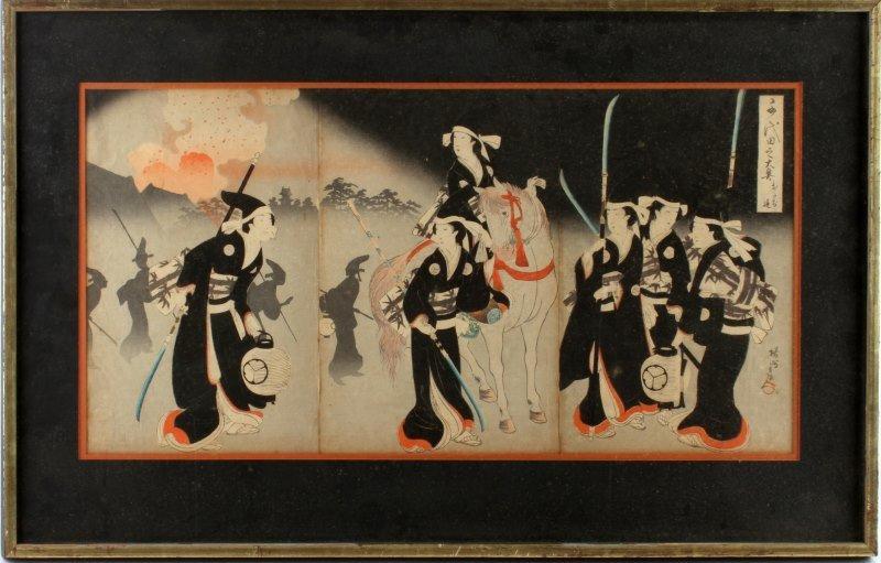 1800S JAPANESE SAMURAI WOOD BLOCK PRINTS