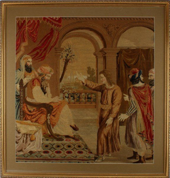FRAMED TAPESTRY OF CHRIST AND APOSTLES