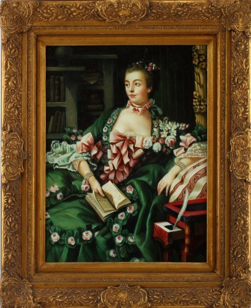 OIL ON BOARD LADY W BOOK R. WILSON SIGNED