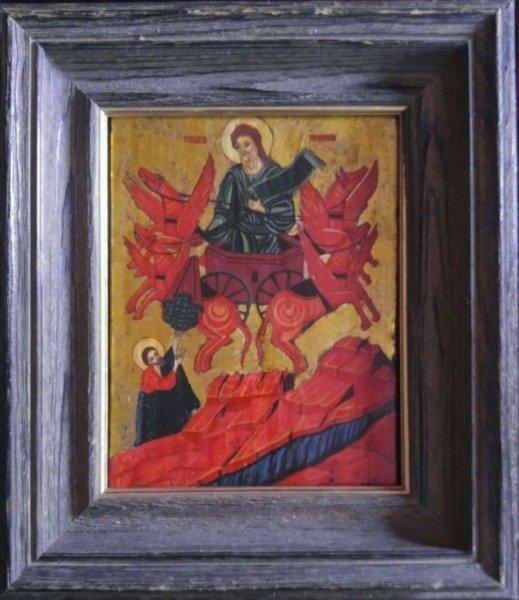 ANTIQUE GREEK ICON PROPHET ELIJAH ON CHARIOT
