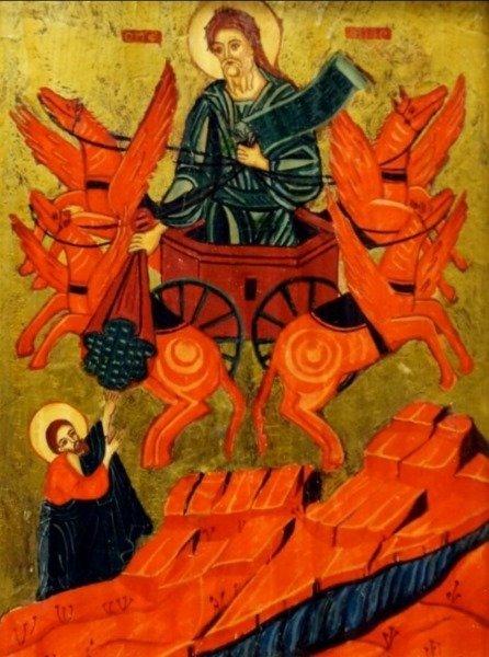 ANTIQUE GREEK ICON PROPHET ELIJAH ON CHARIOT - 3