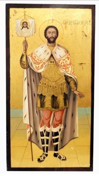 ANTIQUE 19 CENTURY ICON OF ALEXANDER NEVSKIY