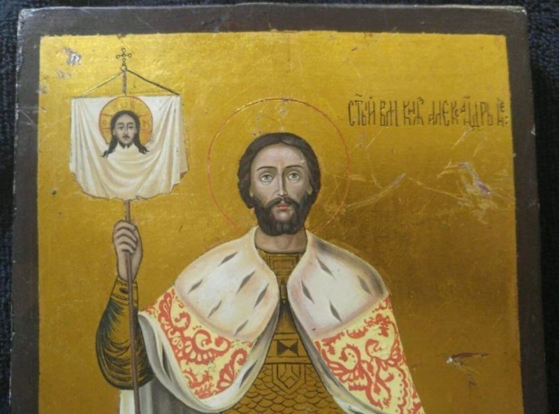 ANTIQUE 19 CENTURY ICON OF ALEXANDER NEVSKIY - 3