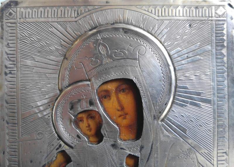 19TH CENTURY 84 SILVER RUSSIAN ICON MOTHER OF GOD - 2
