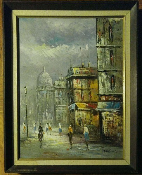 ANTIQUE FRENCH SCHOOL OIL ON CANVAS BY FRANKLIN