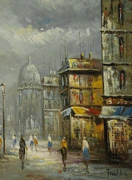 ANTIQUE FRENCH SCHOOL OIL ON CANVAS BY FRANKLIN - 4