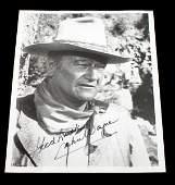 8 BY 10 SIGNED BLACK  WHITE PHOTO OF JOHN WAYNE