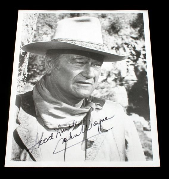 8 BY 10 SIGNED BLACK & WHITE PHOTO OF JOHN WAYNE