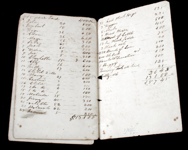 1840S SLAVE TRANSFER DOCUMENT W/ PRICES & NAMES - 4