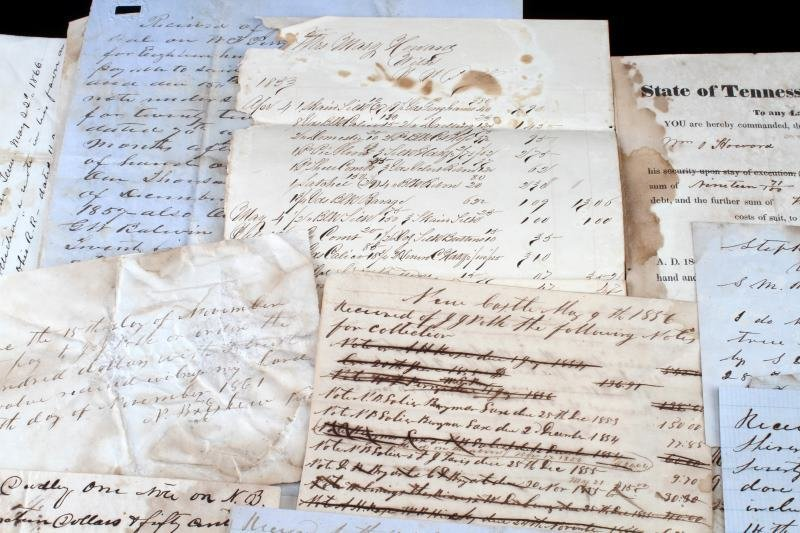 OVER 45 TENNESSEE 1820 TO 1865 DOCUMENTS & NOTES - 3