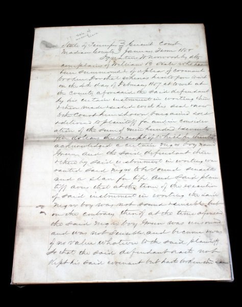 1857 SLAVE DOCUMENT LAWSUIT FOR SELLING UNSOUND