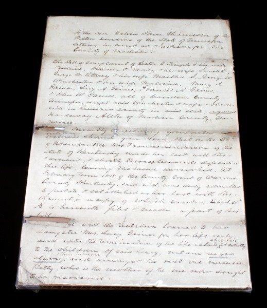 1818 TENNESSEE SLAVE LITIGATION DOCUMENT