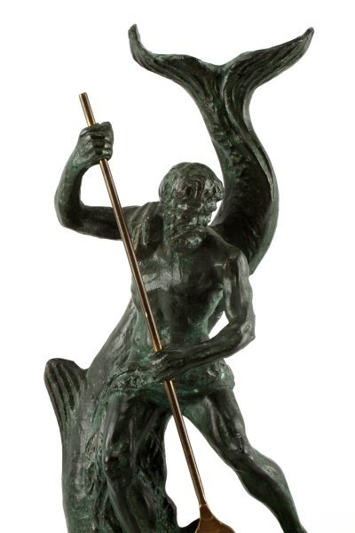 BRONZE STATUE OF NEPTUNE RIDING A LARGE FISH - 2