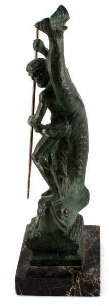 BRONZE STATUE OF NEPTUNE RIDING A LARGE FISH - 3
