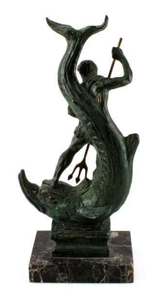 BRONZE STATUE OF NEPTUNE RIDING A LARGE FISH - 4
