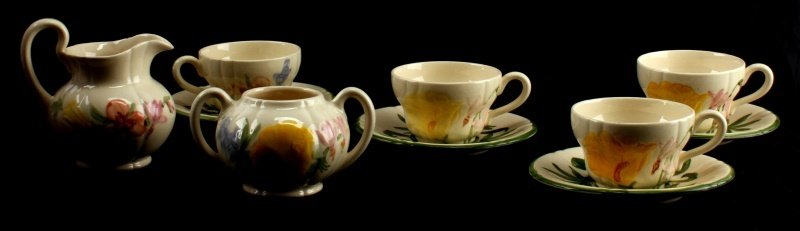 10 PIECE FRANCISCAN WILDFLOWER  CHINA COFFEE SET