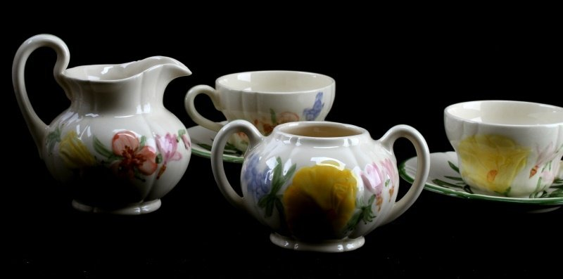 10 PIECE FRANCISCAN WILDFLOWER  CHINA COFFEE SET - 2