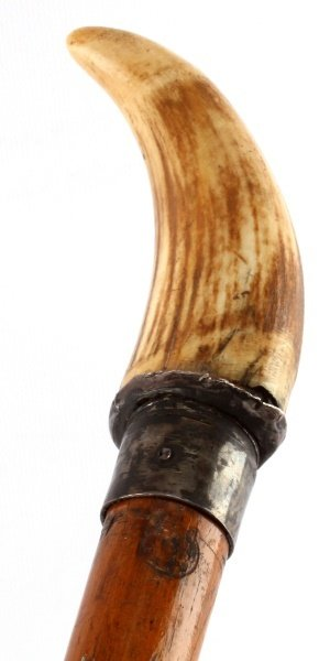 1862 SCRIMSHAW WHALE TOOTH IVORY WALKING STICK - 2