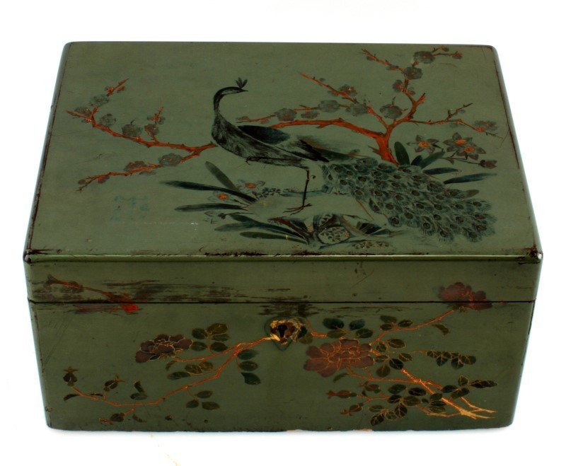 ANTIQUE TEA CADDY LACQUER BOX WITH COMPARTMENT