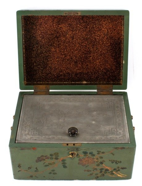 ANTIQUE TEA CADDY LACQUER BOX WITH COMPARTMENT - 3