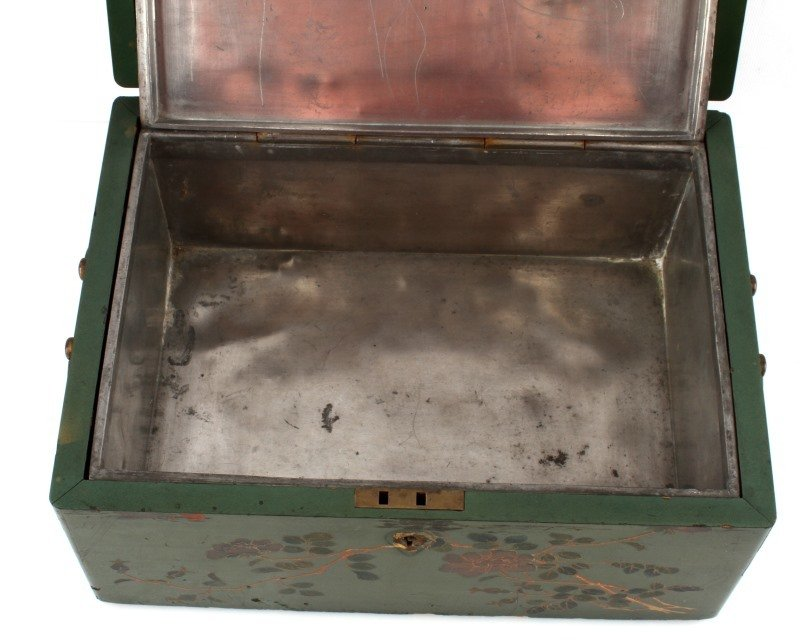 ANTIQUE TEA CADDY LACQUER BOX WITH COMPARTMENT - 5