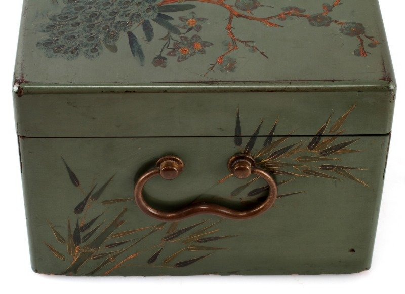 ANTIQUE TEA CADDY LACQUER BOX WITH COMPARTMENT - 7