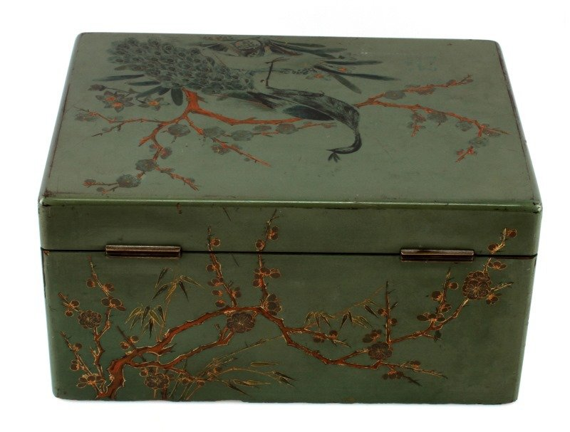 ANTIQUE TEA CADDY LACQUER BOX WITH COMPARTMENT - 8