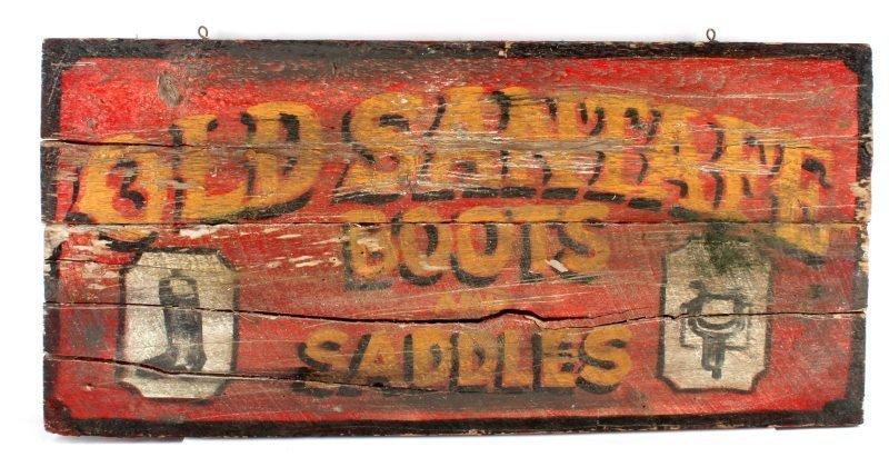 ANTIQUE BOOT & SADDLE TRADE SIGN OLD SANTAFE