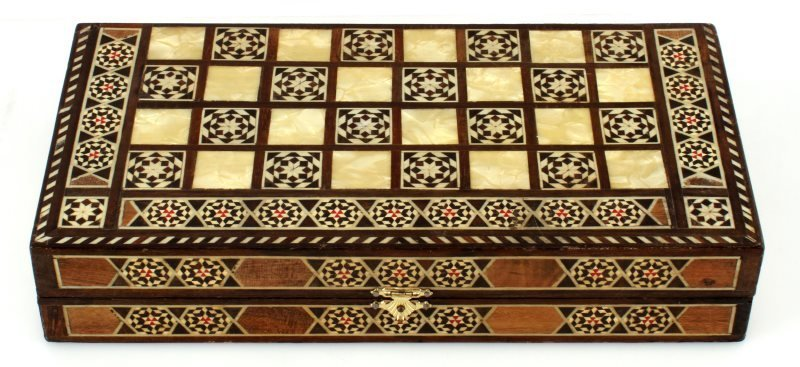 VINTAGE MIDDLE EASTERN INLAID BACKGAMMON  12""