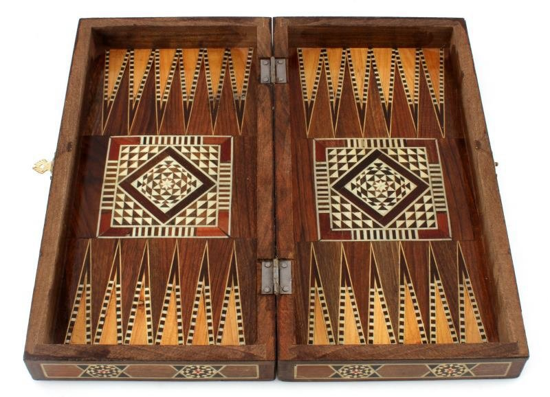 "VINTAGE MIDDLE EASTERN INLAID BACKGAMMON  12"" - 3"