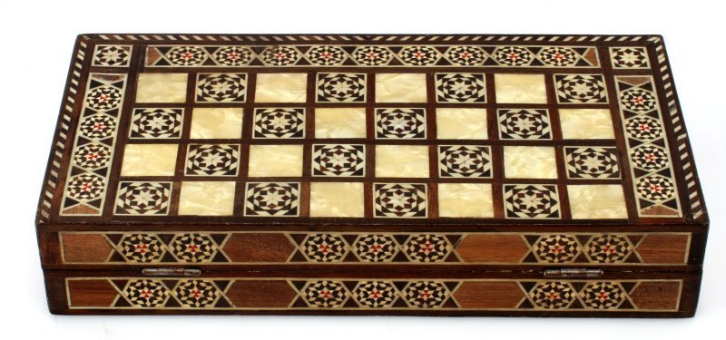 "VINTAGE MIDDLE EASTERN INLAID BACKGAMMON  12"" - 5"