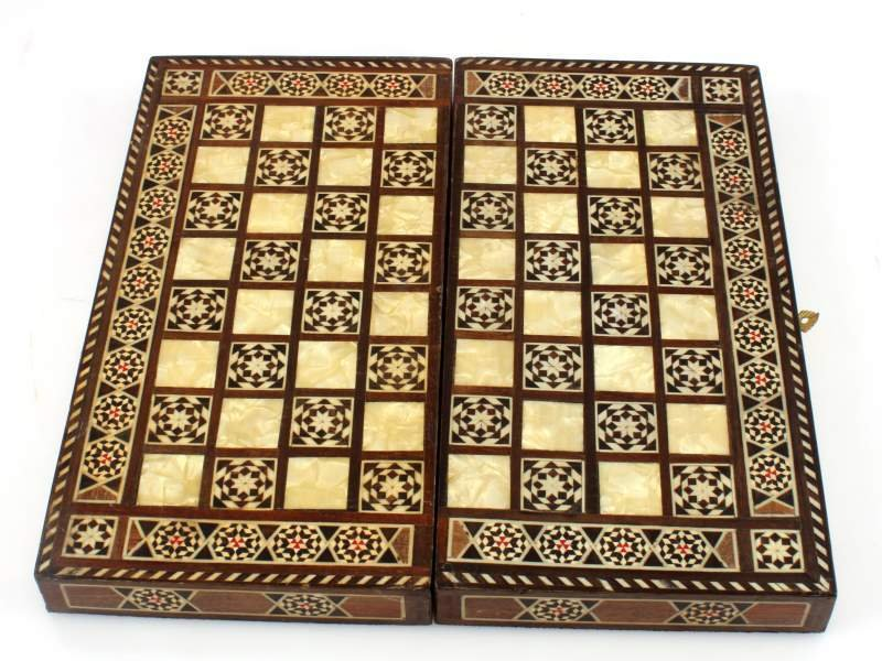 "VINTAGE MIDDLE EASTERN INLAID BACKGAMMON  12"" - 6"