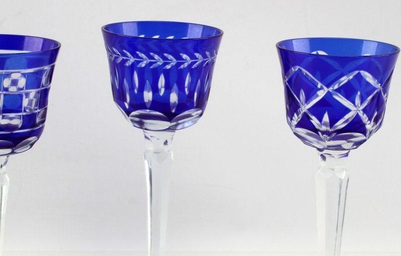 LOT OF FOUR CZECH CUT TO CLEAR COBALT GLASSES - 3