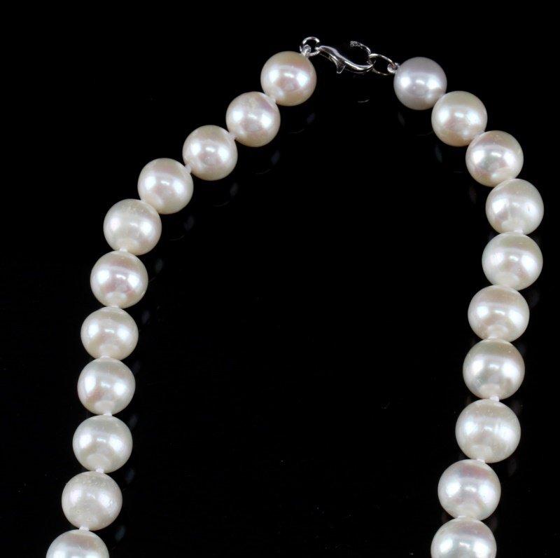 WHITE CREAM PEARL NECKLACE 9-10MM SILVER CLASP - 2