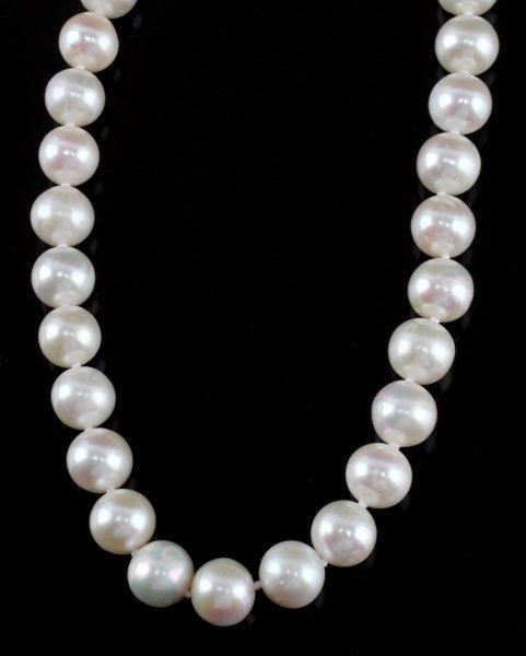 WHITE CREAM PEARL NECKLACE 9-10MM SILVER CLASP - 3