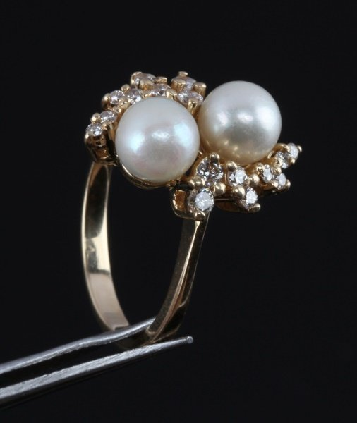 LADIES 14KT YELLOW GOLD RING WITH PEARLS & DIAMOND - 2