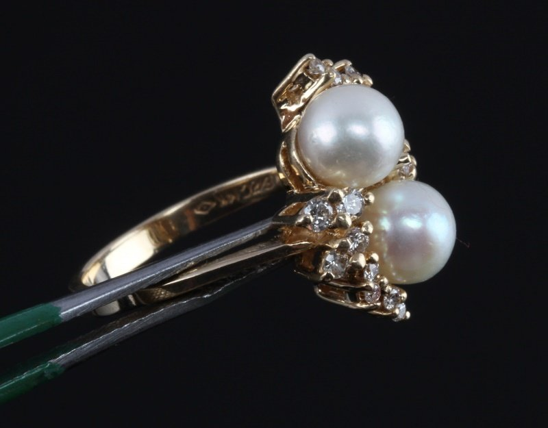LADIES 14KT YELLOW GOLD RING WITH PEARLS & DIAMOND - 3