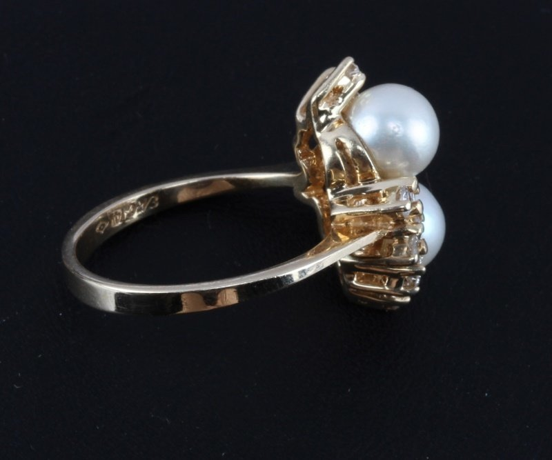 LADIES 14KT YELLOW GOLD RING WITH PEARLS & DIAMOND - 4