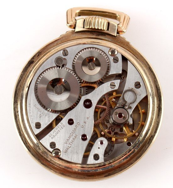 WALTHAM PREMIER VANGUARD 23 JEWEL PACKET WATCH - 3