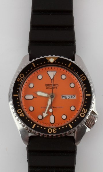 SEIKO QUARTZ 7548-7000 ORANGE DIAL DIVER WATCH - 2