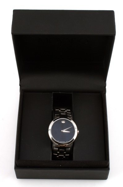 MOVADO STAINLESS STEEL MUSEUM WATCH BLUE DIAL
