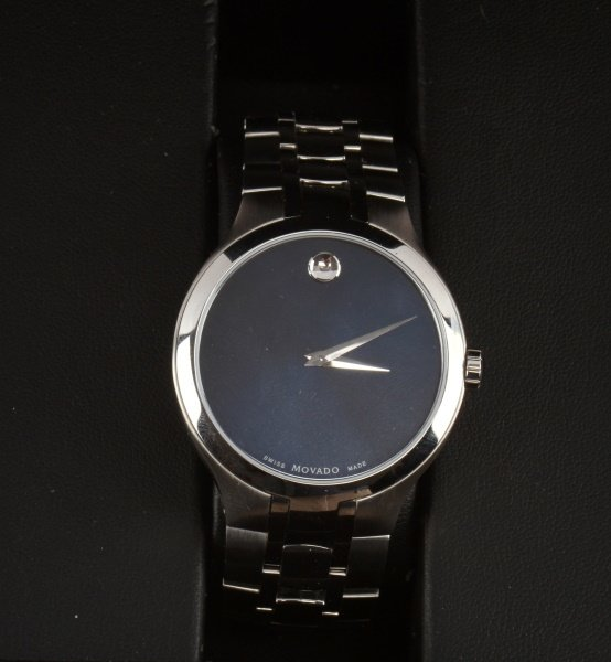 MOVADO STAINLESS STEEL MUSEUM WATCH BLUE DIAL - 2