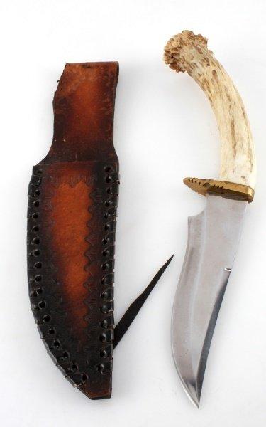 ELK HORN HANDLE BOWIE STYLE HANDMADE KNIFE