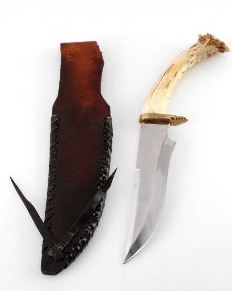 ELK HORN HANDLE BOWIE STYLE HANDMADE KNIFE - 4