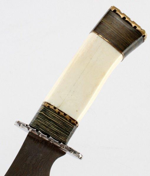 HAND MADE DAMASCUS STEEL  WOOD AND BONE KNIFE