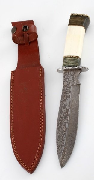 HAND MADE DAMASCUS STEEL  WOOD AND BONE KNIFE - 3