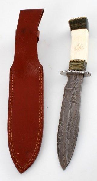 HAND MADE DAMASCUS STEEL  WOOD AND BONE KNIFE - 5
