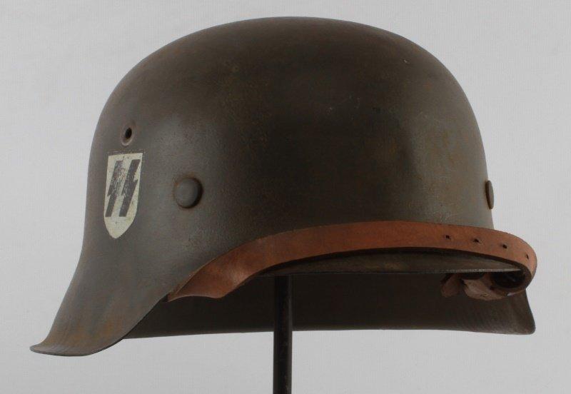 WWII GERMAN THIRD REICH M-42 SINGLE D SS HELMET