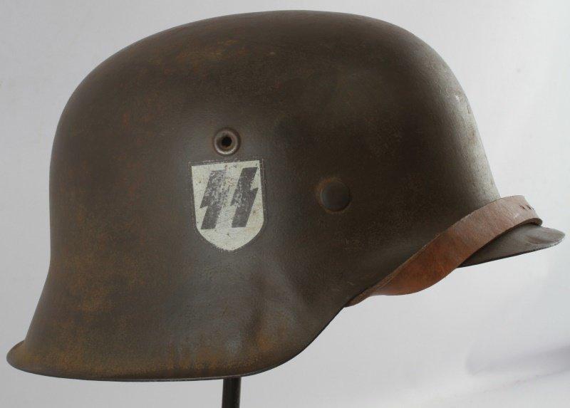 WWII GERMAN THIRD REICH M-42 SINGLE D SS HELMET - 2