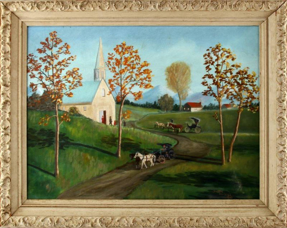 RURAL CHAPEL AND CARRIAGE SCENE NAIVE ART PAINTING